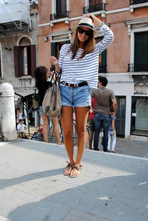 Panama Hat Style stripes and denim